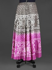 Floral Pattern Bandhej Print Cotton Midi Skirt - Indian Shoppe