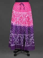 Dual Tone Bandhej Print Cotton Midi Skirt - Indian Shoppe