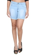 blue cotton blend shorts -  online shopping for Shorts