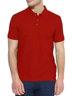 solid red cotton polo t-shirt