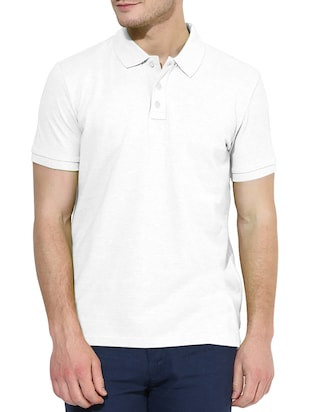 solid white cotton polo t-shirt