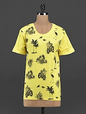 Tropical Printed Yellow Round Neck Tee - Yepme