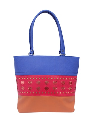 multi colored faux leather shopping bag