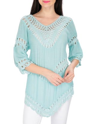 green cotton top -  online shopping for Tops