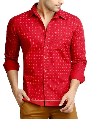 red printed cotton casual shirt