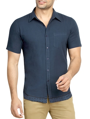 navy blue embroidered linen casual shirt