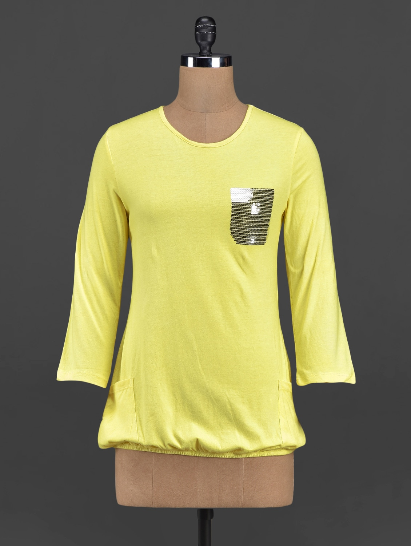 Sequin Pocket Round Neck Solid Top - Yepme