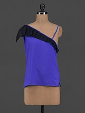 Ruffled One Shoulder Royal Blue Top - Yepme