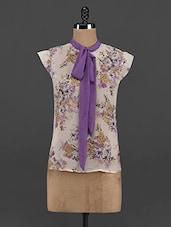 Floral Print Georgette Tie-up Top - Yepme