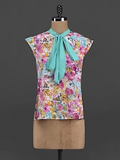 Floral Print Polyester Tie-up Top - Yepme