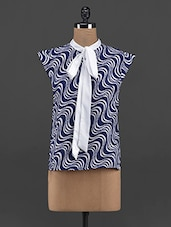 Wave Print Polyester Tie-up Top - Yepme