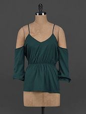 Teal Polyester Cut-out Top - Yepme