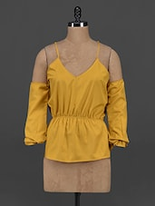Mustard Polyester Cut-out Top - Yepme
