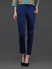 Blue Formal Cotton Lycra Pants - Yepme