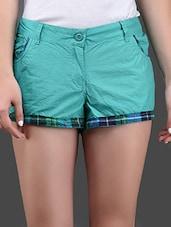 Checks Printed Border Cotton Shorts - Yepme