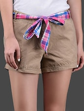 Plain Solid Cotton Shorts With Checked Knotted Belt - Yepme
