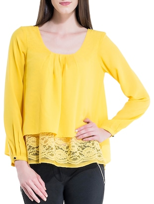 yellow silky moss  lace top