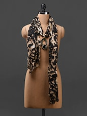 Black And Beige Printed Cotton Jeweled Stole - NJS
