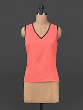 Coral Red V-neck Polyester Top - Ridress
