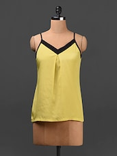 Yellow Camisole Neck Polyester Top - Ridress