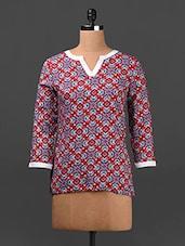 Printed 3/4th Sleeves Rayon Top - Ridress