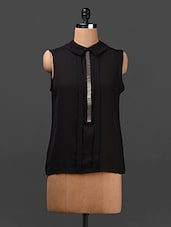 Black Bead Embellished Georgette Top - Ridress