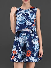 Floral Print Sleeveless Crepe Dress - Ridress