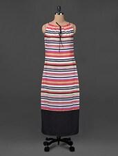 Striped Polyester Maxi Dress - Ridress