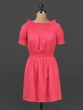Pink Frilled Boat Neck Crepe Dress - Ridress
