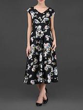 Black Floral Print V-neck Polyester Dress - Ridress