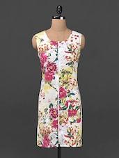 Floral Front Zipper Cotton Dress - Ridress
