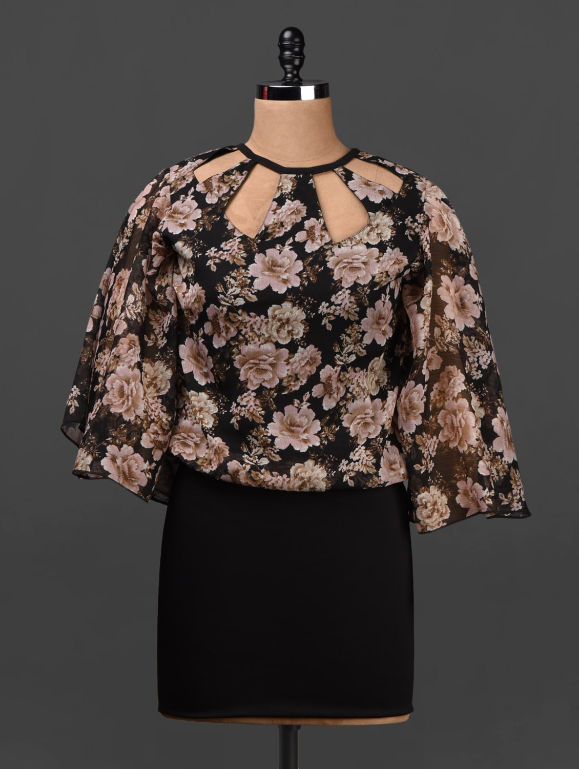 Black Floral Print Chiffon Short Dress - Ridress