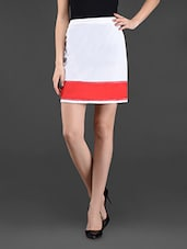Color Block Cotton Short Skirt - Ridress