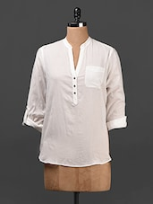 White Button-up Sleeves Cotton Top - Ridress