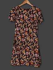 Brown Floral Printed Shift Dress - Sweet Lemon