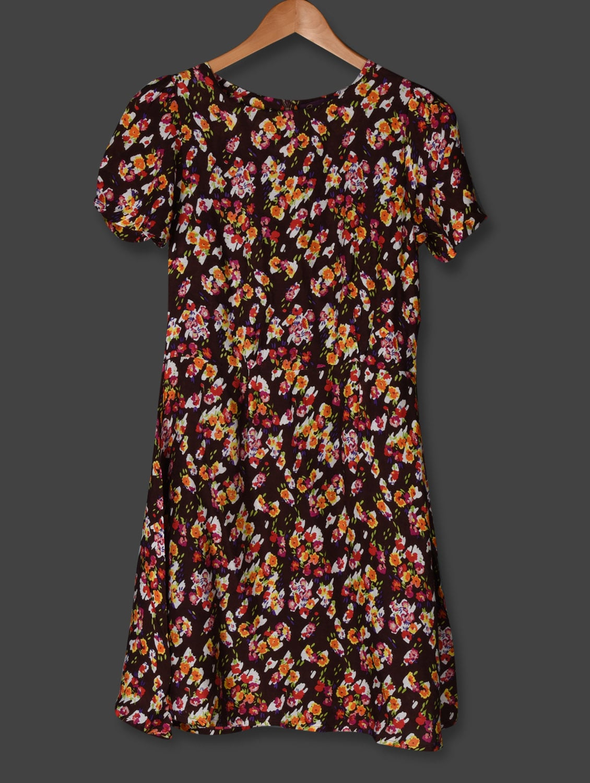 Brown Floral Printed Shift Dress - Sweet Lemon