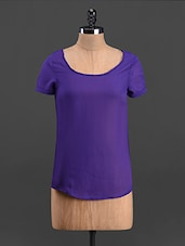 Solid Purple Round Neck Georgette Top - Sweet Lemon