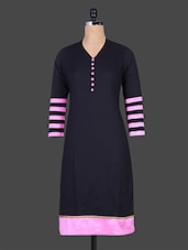 Black Cotton Kurti With Pink Details - Jaipurkurti.com
