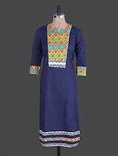 Navy Blue Printed Cotton Kurti - Jaipurkurti.com