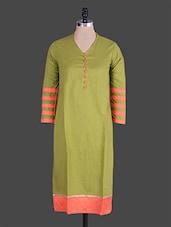 Mehendi Green Cotton Kurti - Jaipurkurti.com