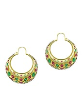Gold,red,green Brass Earring - By