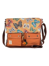 Butterfly Print Canvas Messenger Bag - The House Of Tara