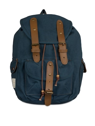 Blue canvas backpack