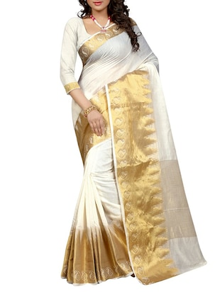 white banarasi cotton saree