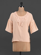 Lace Round Neck Solid Color Top - LastInch