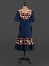 Round Neck Printed Yoke Dress - LastInch