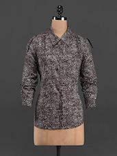 Printed Full Sleeve Shirt Collar Top - LastInch