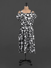 Floral Leaf Printed Monochrome Dress - LastInch