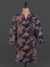 Butterfly Printed Sheer Mandarin Collar Tunic - LastInch