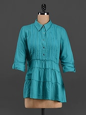 Sea-Green Shirt Collar Pin Tuck Top - LastInch